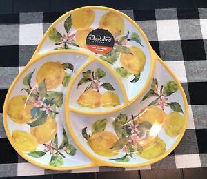 """IL Mulino Lemons 🍋 Chip Dip Serving Tray Platter 14"""" New Melamine"""