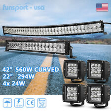 "42Inch Offroad 4D LED Light Bar Curved +22in Combo+4x 4"" Pods For Ford 4X4 Jeep"