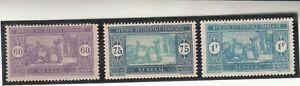 SENEGAL 1922-26. Market Scene. 60, 75c & 1f Mint, Lightly Hinged OG