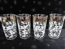 "4 VINTAGE WHITE HIBISCUS FLOWERS GOLD GREEK KEY GLASSES WATER TUMBLERS 4 3/4"""