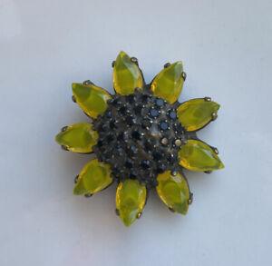Vintage Dorothy Bauer Swarovski Crystals - Yellow & Black Sunflower Pin Brooch