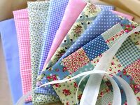 FQ BUNDLE-BLUE/PINK x 8 100% COTTON FABRIC VINTAGE SHABBY CHIC POLKA DOT FLORAL