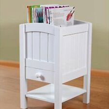 NEW Chairside Table Magazine Organizer Wood White 2 Top Compartment-Shelf-Drawer