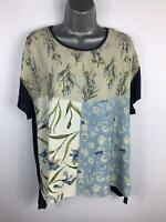 WOMENS ZARA MULTICOLOURED SHORT SLEEVE FLOWER PATTERNED CASUAL T SHIRT SIZE L
