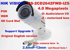 Hikvision English DS-2CD2642FWD-IZS 4MP IP camera security 2.8~12mm vari-focal