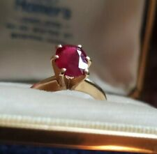 Natural Ruby Solitaire~1.31 ct.~Vintage 14k Gold Ring~ R.I. Jeweler~Blaine-Duce