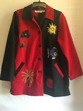 Women's Anage Appliqué And Embroidered Textured Jacket Woolen Sz L Made in India