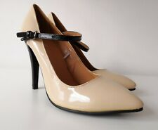 Fiore Nude Black Mary Jane ankle strap stiletto high heels, Size UK 7 / EU 41