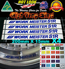 4X WORK MEISTER S1R S1 Wheel Decal JDM Drift Racing Wheels Stickers All colours