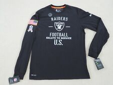 Nike Authentic NFL RAIDERS 'SALUTE TO SERVICE' USA Shirt L/S Men M New Sweet^