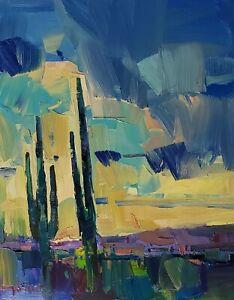 JOSE TRUJILLO Oil Painting IMPRESSIONISM EXPRESSIONISM SAGUAROS DESERT SKY