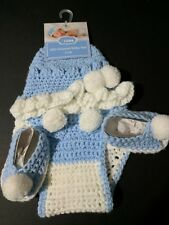Crochet Diaper cover hat booties 3 piece set photo prop 0-6 months