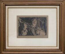 "Original Anders Zorn 1918 Etching ""Vicke"" (Guitarist) Signed ""A. Zorn"" in Pencil"