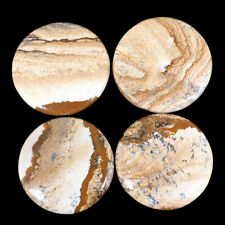 4 Pcs Natural Picture Jasper 38mm-40mm Round Top Quality Lot Cabochon Gemstones