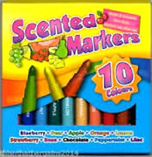 New Tallon Art Box 10 Assorted Colours Scented Markers Kids Art Craft Colour Pen