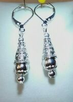 Egyptian Style Drop Dangling Silver With 925 Sterling Silver Lever Back Earrings