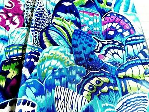 Rare  FQ NATURAL WORLD Snow Leopard Philip Cotton Fabric BUTTERFLY WINGS BLUE