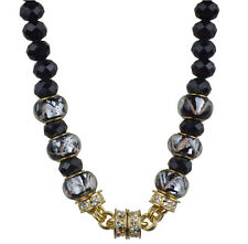 "KIRKS FOLLY VENETIAN NIGHT  17"" BEADED MAGNETIC NECKLACE goldtone / jet"