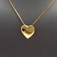 Vintage 12k Gold Filled Sapphire September Birthstone Heart Pendant Necklace