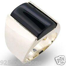 925 Sterling Silver 17X12 mm Semi-Precious Black Onyx Stone Men Ring Size 10