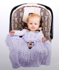 New Handmade Knitted Light Country Blue Baby Car Seat Cover / Blanket