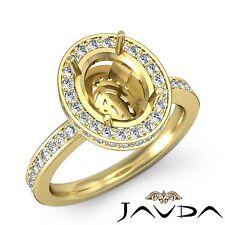 Diamond Engagement 0.82 Carat Ring Oval Semi Mount 18k Yellow Gold Halo Pave Set