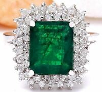 4.20 Carat Natural Emerald 14K Solid White Gold Diamond Ring
