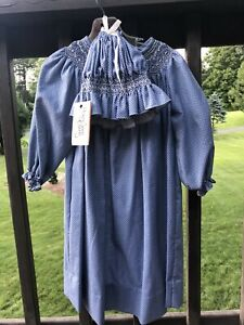 Handcrafted Girls Blue Smocked Dress Size 6 7 and Hat Set New Hampshire USA $130