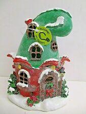 Christmas ELF HAT Miniature FAIRY GARDEN House w LED Light~ Hobbit Pixie House