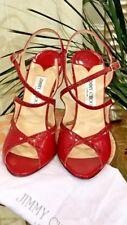 Jimmy Choo Toyah Leather and Elaphe Snake Peep-Toe Sandal Red $725 - 39