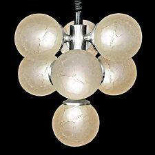 Italian Stilnovo Type Sputnik Chrome Space Age Chandelier w Crackle Glass Globes