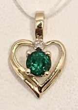 10k Yellow Gold Heart Pendant w/ Emerald + Diamond Accent Birthstone Vintage