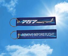"""Boeing 757 """"Remove Before Flight"""" keychain luggage baggage Tag Blue"""