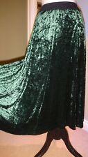 Planet Women's Green Velvet Style Flare Midi Skirt UK Size S
