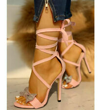 Ladies Rhinestone Super High Heels Strappy Sandals Bow Stiletto Sexy Party Shoes