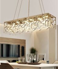 Modern Crystal Dining Room Living Room Hotel Parlor Rectangle Pendant Lamp