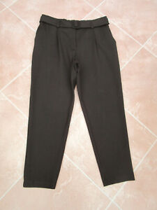 F&F - Womens Black Thick Stretch Tapered Ankle Grazer Belted Trousers - size 16