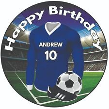 "Personalised Football 8"" Round Icing Cake Topper Birthday Blue Shirt Kit"