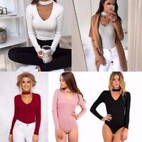 Women Ladies Plunge Chocker V High Neck Long Sleeve Bodysuit Body Tops Q