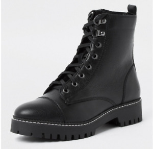 RIVER ISLAND Holly Black Lace-up Combat/Biker Leather Ankle Boots UK6 EU39 RP£70