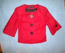 Mesdames m&s autographe Ruby Rouge Manches 3/4 boutons de Grande Taille Détail Veste Taille UK 8