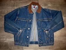Vintage 90s Tommy Hilfiger Jean Jacket Crest Logo Blue Denim Women's Size Large