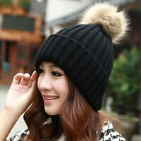 Ladies Womens Warm Knitted Fur Pom Beanie Casual Winter Ski Hat Slouch Cap Gift