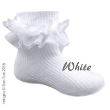 Baby Girls Turn Over Ankle Socks Double Frill White Organza Frilly Newborn-2Y