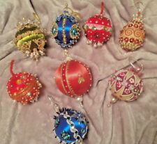 Set of 8 Satin Christmas Ornaments with Beads, Sequins, & Pearls