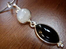New Black Onyx & Moonstone 925 Silver Necklace India