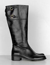 $289.00 New Corso Como Black Leather Tall Knee High Belted Riding Boots 8 B