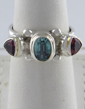 LADIES 925 STERLING SILVER GP SYNTHETIC PINK BLUE TOPAZ 3 STONE JEWELRY RING