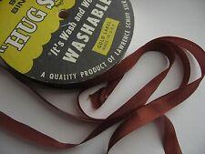 """Vintage Rayon Seam Ribbon Tape, 5yds Autumn (rust) Brown  1/2"""", Hug Snug"""