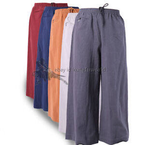 Thick Cotton Buddhist Monk Shaolin Kung fu Pants Qigong Meditation Trousers